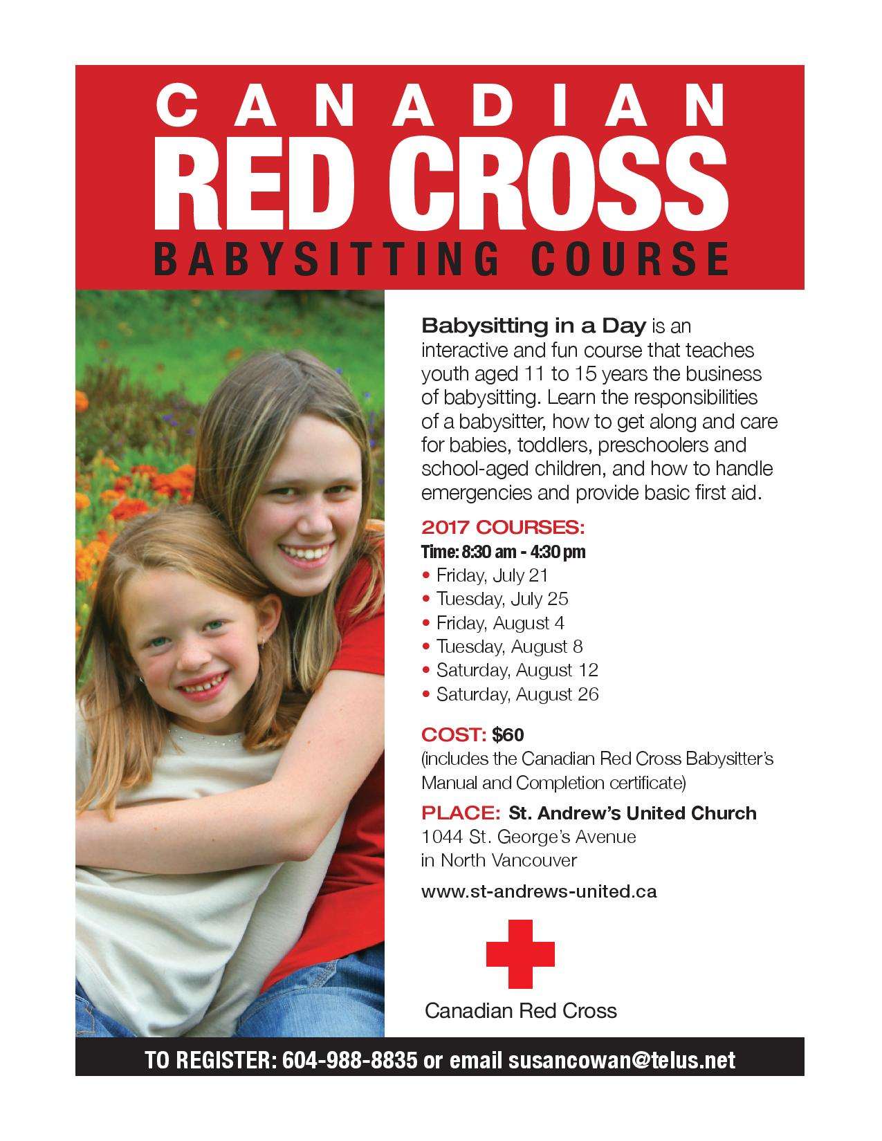 Canadian red cross babysitting course vancouver events and fun course that teaches youth aged 11 to 15 years the business of babysitting they learn the responsibilities of a babysitter how to get xflitez Images