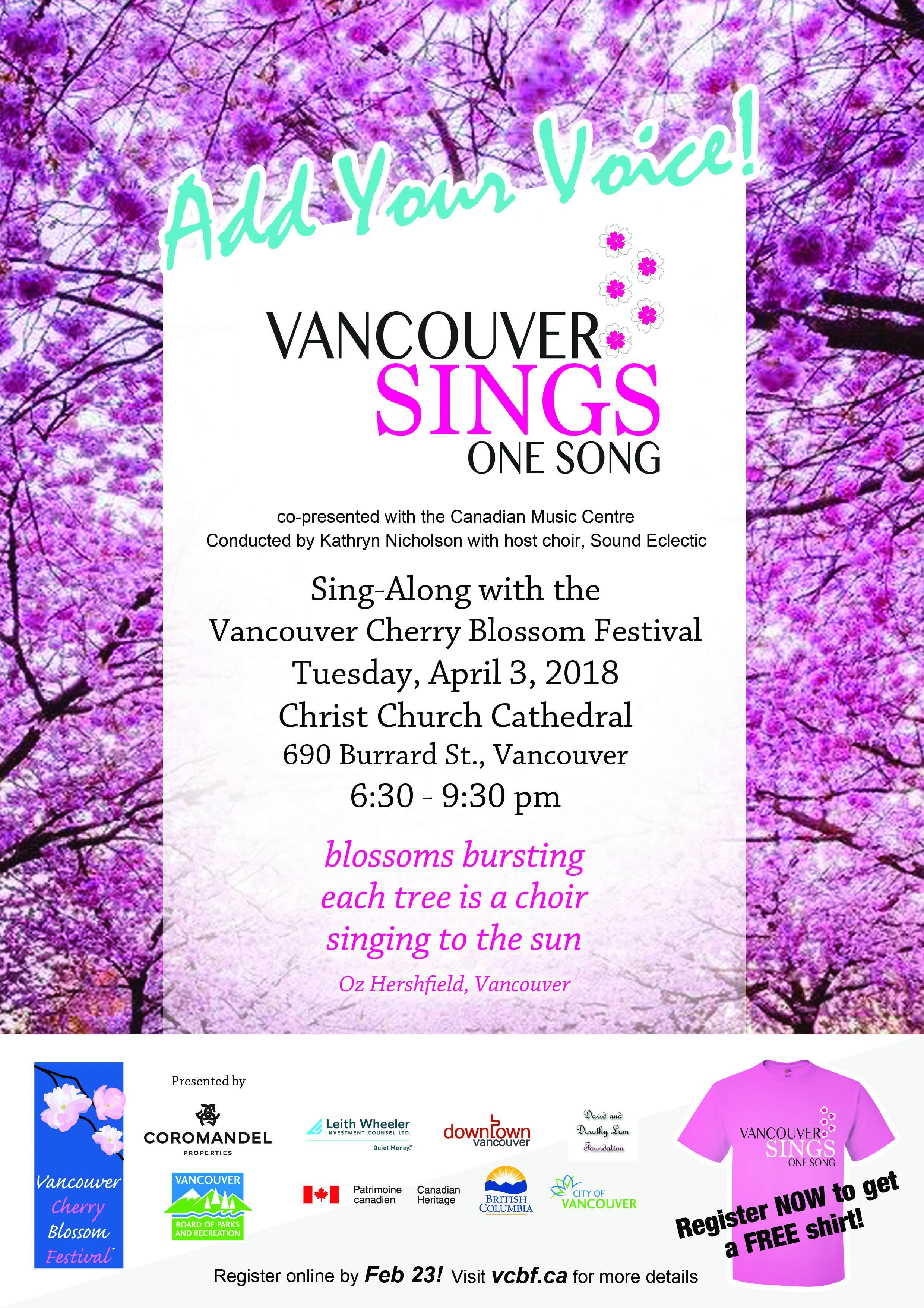 The Vancouver Cherry Blossom Festival Invites You To Add Your Voice To  Vancouver Sings One Song A Free Event Conducted By Kathryn Nicholson, With  Host Choir ...